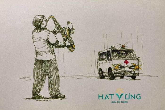 Một phác họa hình ảnh Trần Mạnh Tuấn trình diễn bên cạnh xe cứu thương tại bệnh viện dã chiến