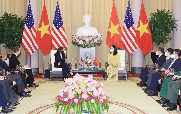 Phó Chủ tịch nước Võ Thị Ánh Xuân tiếp Phó Tổng thống Mỹ Kamala Harris  - Ảnh 3.