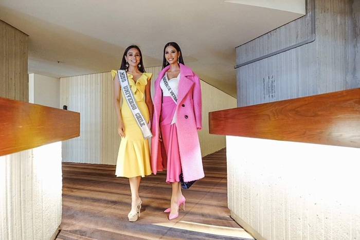 """Hoàng Thùy diện cả """"cây hồng"""" bước vào cuộc chinh phục vương miện Hoa hậu Hoàn vũ 2019 - Ảnh 3."""