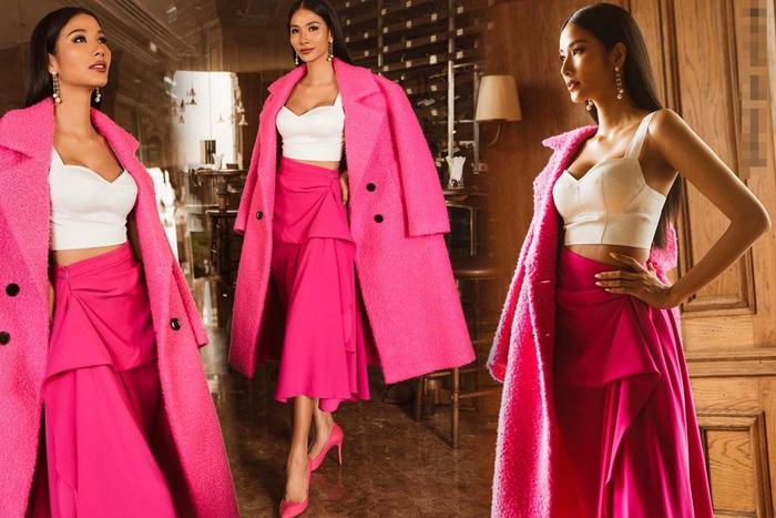 """Hoàng Thùy diện cả """"cây hồng"""" bước vào cuộc chinh phục vương miện Hoa hậu Hoàn vũ 2019 - Ảnh 5."""