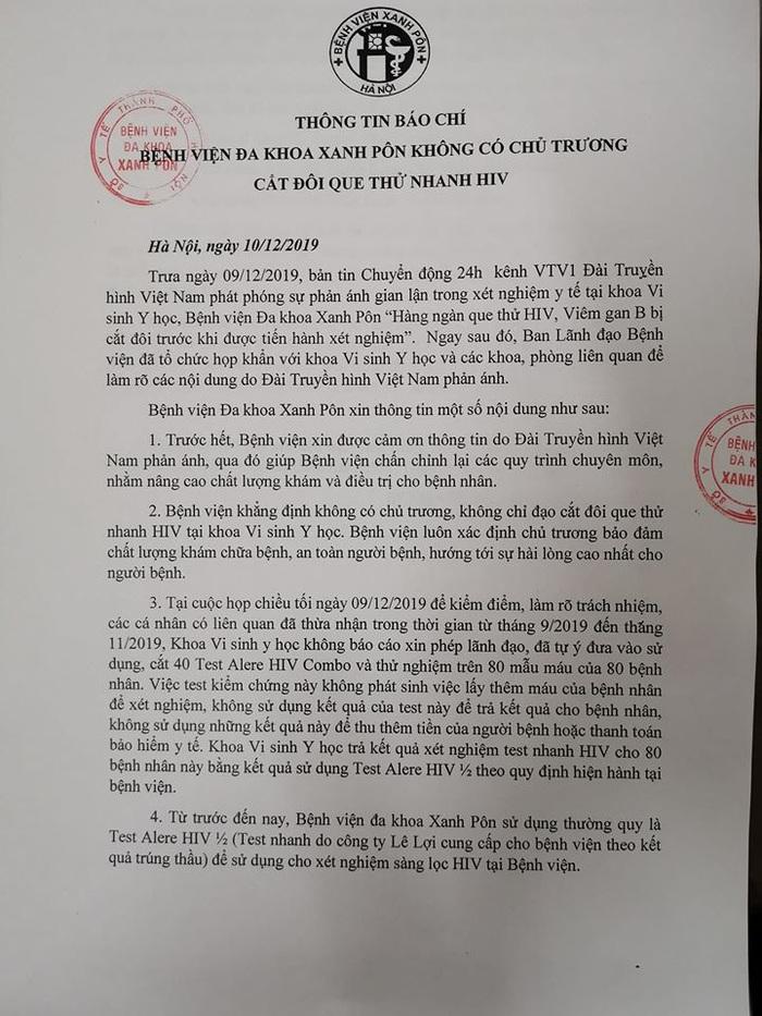 Thông báo chính thức của BV Xanh Pôn