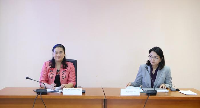 Phó chủ tịch Hội LHPN Việt Nam Đỗ Thị Thu Thảo và bà Tamayo Ito - Cố vấn trưởng Nhóm chuyên gia dự án