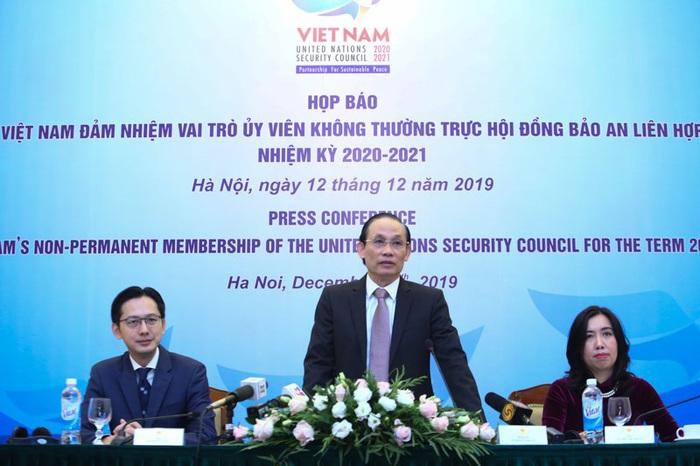 họp báo quốc tế ngày 12/12 về việc Việt Nam đảm nhận vai trò Ủy viên không thường trực Hội đồng Bảo an Liên hợp quốc (HĐBA LHQ) nhiệm kỳ 2020 - 2021