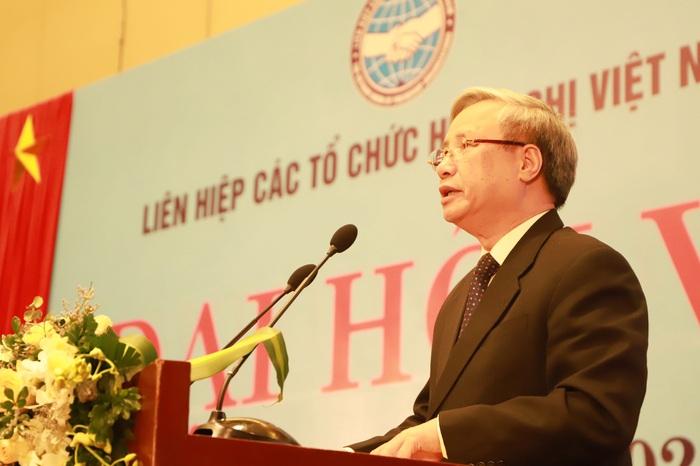 Ông Trần Quốc Vượng, Uỷ viên Bộ Chính trị, Thường trực Ban Bí thư phát biểu chỉ đạo tại Đại hội đại biểu toàn quốc lần thứ VI nhiệm kỳ 2019-2024 của VUFO