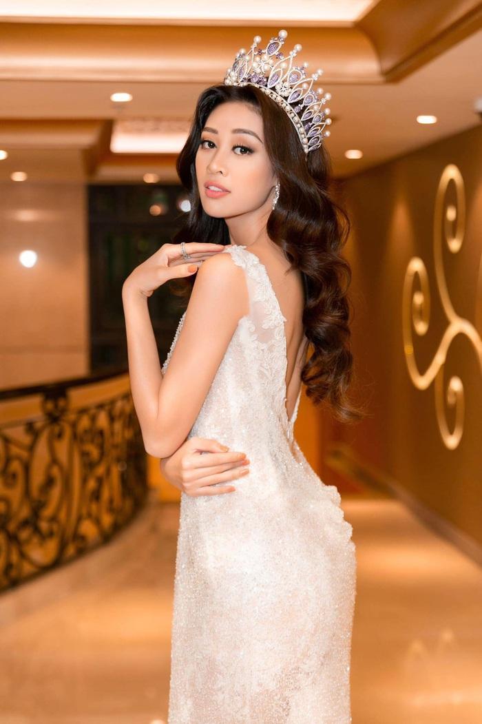 Hoa hậu Hoàn Vũ Khánh Vân khoe dáng khi diện đầm đính 2 kg cườm - Ảnh 3.