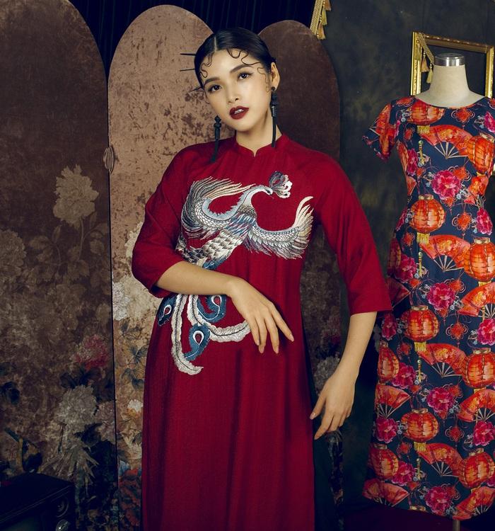 Top 10 Miss Photo Diễm Nhi chọn áo dài cách tân đón xuân mới - Ảnh 3.