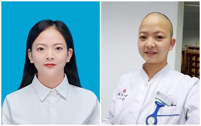 Y tá Shan Xia trước và sau khi cạo trọc đầu đi làm nhiệm vụ chống dịch