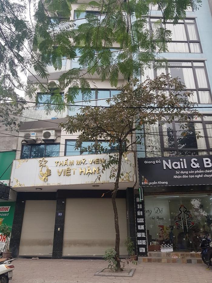 Thẩm mỹ viện Việt Hàn, nơi bệnh nhân thực hiện hút mỡ bụng và bị tai biến