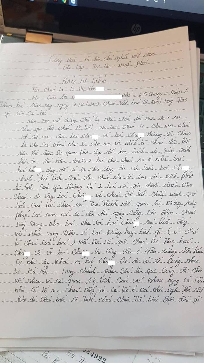 Bản kiểm điểm do chị Th. viết đã thừa nhận mối quan hệ bất chính giữa chị với ông Hồ Ch.