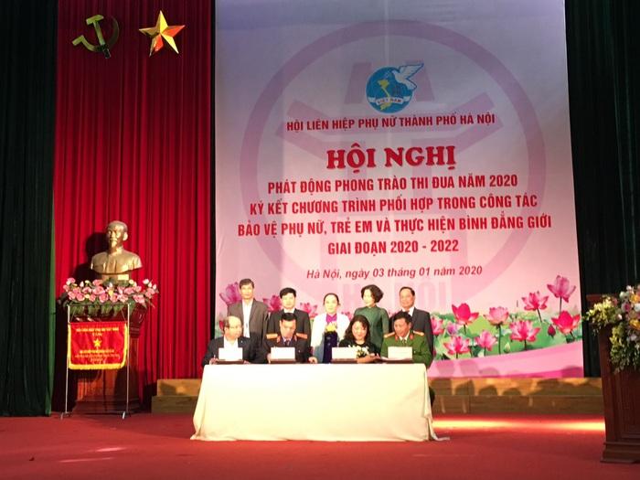 Hội LHPN Hà Nội ký kết chương trình phối hợp với Công an, Tòa án, Viện kiểm sát nhân dân, Sở Lao động thương binh và xã hội thành phố.