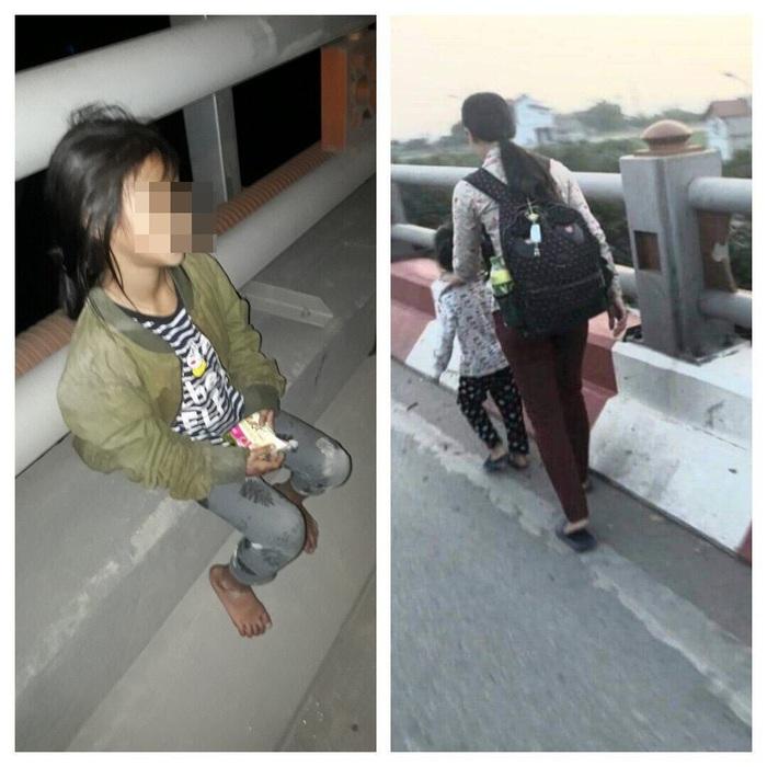 Bé gái thẫn thờ bên thi thể mẹ và hình ảnh mẹ dắt con đi ăn xin trên cầu Thanh Trì mà cư dân mạng chụp lại.