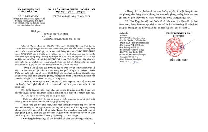 Hà Tĩnh: Học sinh bắt đầu nghỉ học vào ngày mai để phòng dịch Corona - Ảnh 1.