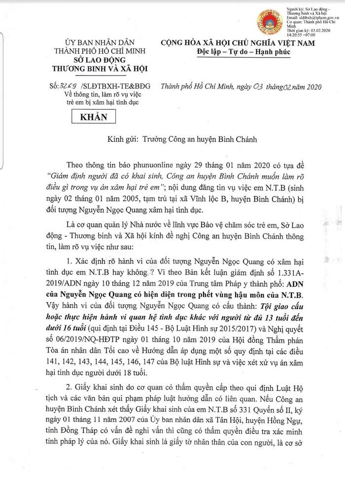 Sở LĐTB và XH TPHCM gửi công văn khẩn về việc bé gái 14 tuổi bị đưa vào khách sạn  - Ảnh 1.