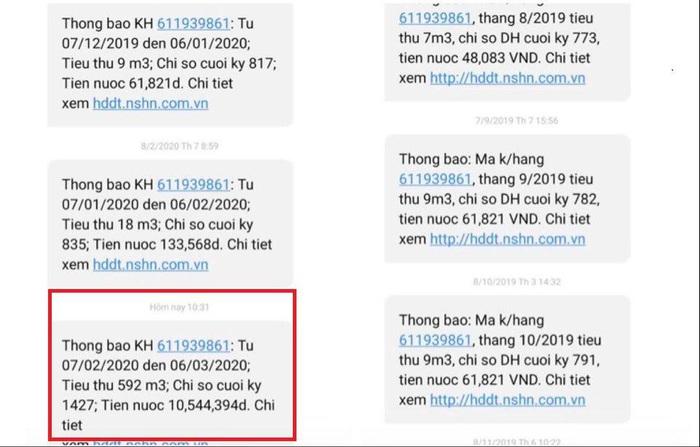 """Một gia đình ở Hà Nội """"bị sốc"""" vì hóa đơn tiền nước 10,5 triệu đồng/tháng - Ảnh 1."""