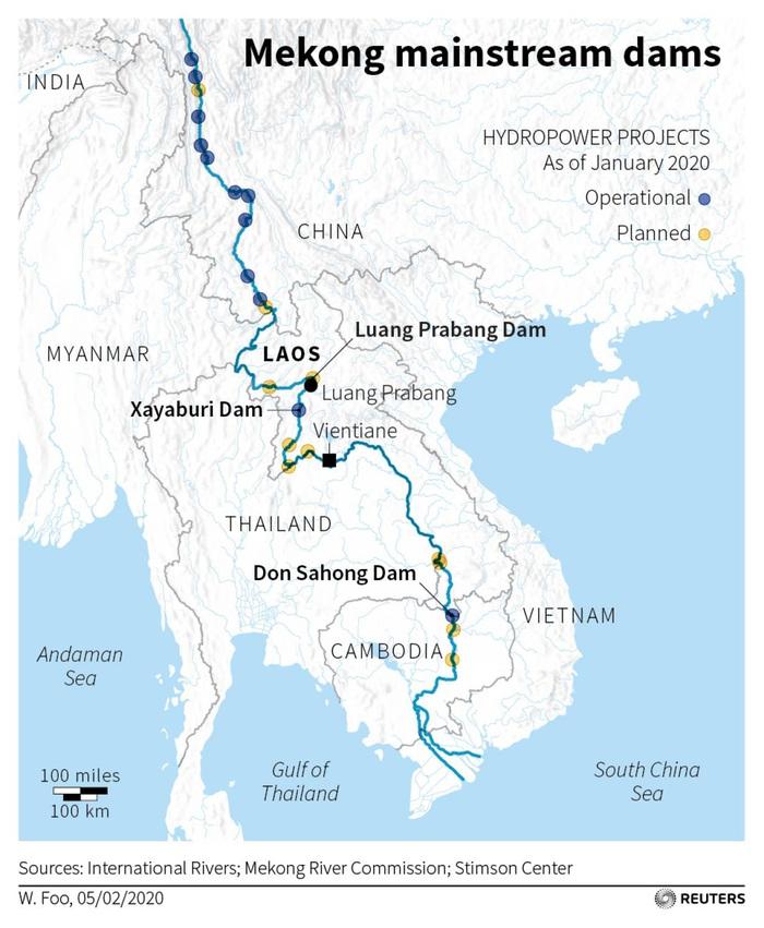 Bản đồ minh họa hệ thống thủy điện trong dòng Mekong