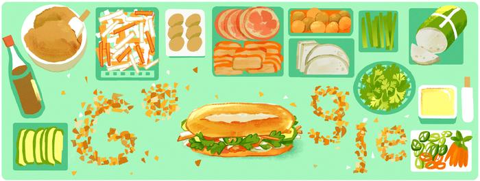 Google Doodle vinh danh bánh mì Việt Nam - Ảnh 1.
