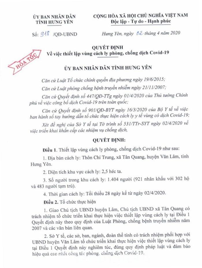Hưng Yên: Phong tỏa 1 thôn hơn 1.400 người sau khi bệnh nhân 219 được công bố - Ảnh 1.