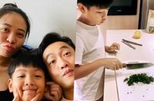 Sắp có thêm em, con trai Cường Đô La 10 tuổi đã phải vào bếp nấu ăn cho mẹ