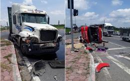 Hưng Yên: Container đâm xe khách 2 phụ nữ tử vong