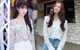 """Các mỹ nhân Hàn mê mệt kiểu áo blouse dài tay """"bánh bèo"""""""