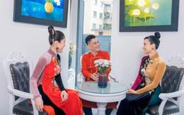 Á hậu Lý Kim Thảo đọ sắc cùng diễn viên Lương Giang trong thiết kế của Nhật Dũng