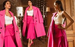 """Hoàng Thùy diện cả """"cây hồng"""" bước vào cuộc chinh phục vương miện Hoa hậu Hoàn vũ 2019"""