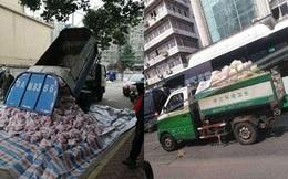 Vũ Hán: Chở thịt lợn chuyển tới người dân bằng… xe chở rác và xe cứu thương