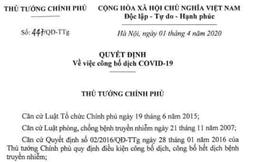 Thủ tướng ký quyết định Công bố dịch COVID-19 toàn quốc