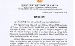 Hà Tĩnh: Hai lao động làm việc ở Angola bị cướp đâm tử vong