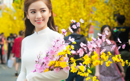 Diễn viên Lê Hạ Anh đẹp tinh khôi bên hoa mai, hoa đào