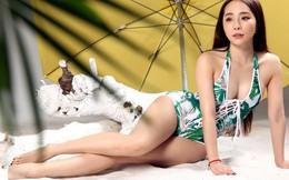 Diễn viên Quỳnh Nga mặc bikini giữa mùa thu