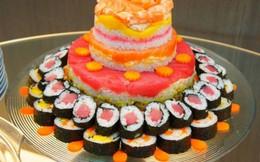 Đổ xô tặng giáo viên hoa và bánh gato sushi