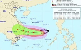 Bão số 6 hướng về đất liền Quảng Ngãi - Khánh Hòa, gió giật cấp 14