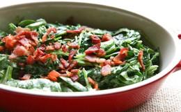 Rau cải bó xôi xào thịt xông khói