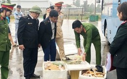 Xe khách chở thực phẩm 'bẩn' đi tiêu thụ bị bắt giữ tại Hà Tĩnh