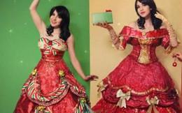 May váy dạ hội bằng giấy gói quà