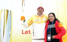 Bình Minh khoe ảnh tình cảm với vợ ở lễ rước đuốc Olympic Pyeongchang