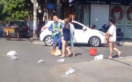 clip chủ shop tấn công nữ lao công khi bị nhắc nhở việc bỏ rác