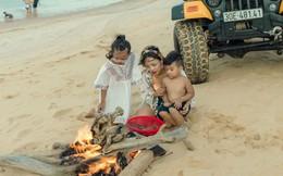Thái Thùy Linh cùng 2 con trải nghiệm cuộc sống du mục
