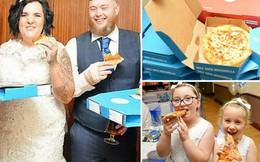Cô dâu chú rể đãi khách tiệc cưới toàn bánh pizza