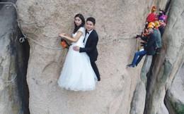 Cặp đôi mạo hiểm chụp ảnh cưới trên vách đá dựng đứng