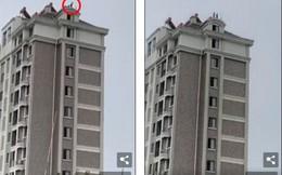 Dựng tóc gáy cảnh 2 cháu bé chơi đùa trên nóc nhà 12 tầng