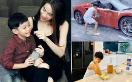Quý tử nhà Hồ Ngọc Hà mới 10 tuổi nhưng không ngại xắn tay áo rửa xe, nấu ăn