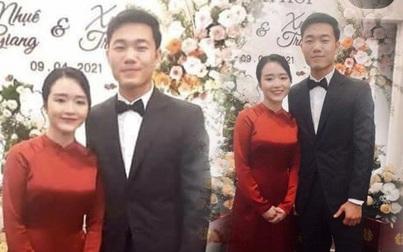 Cầu thủ Xuân Trường - cô dâu Nhuệ Giang đẹp đôi trong đám hỏi