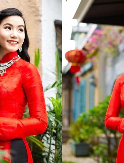 Họa sĩ, diễn viên Lương Giang xúng xính áo dài đỏ đón xuân